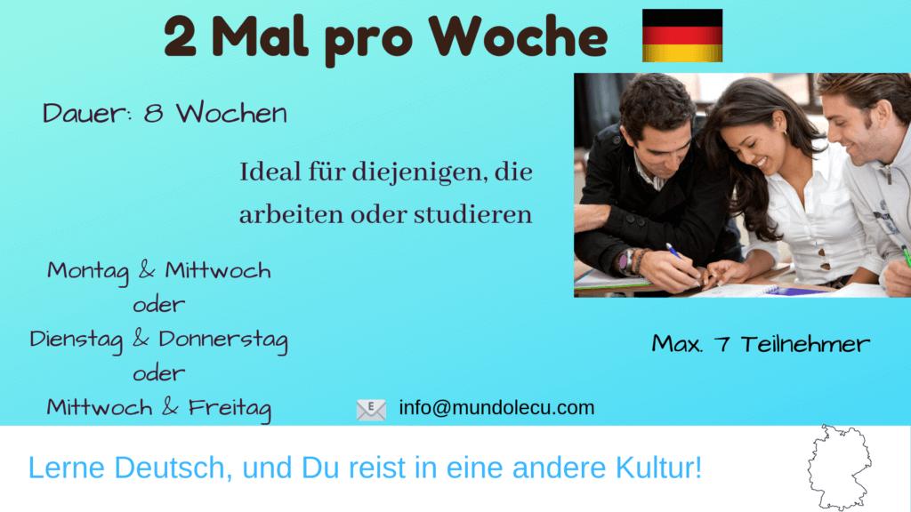 Deutschkurs 2 Mal pro Woche München mundolecu Sprachschule Übersicht