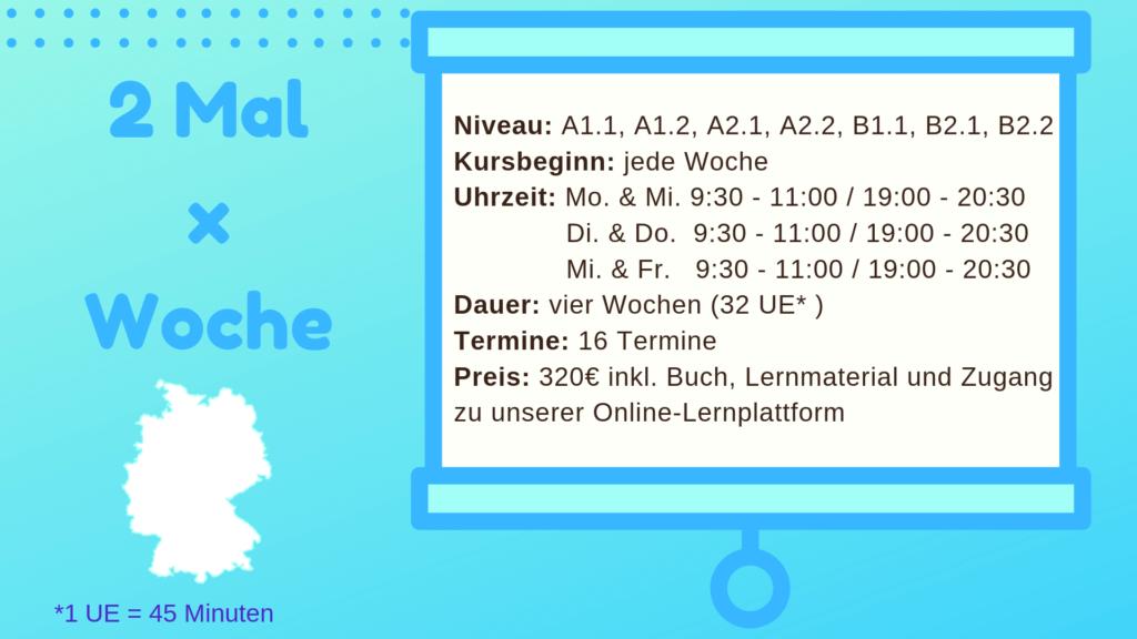 Deutschkurs 2 Mal pro Woche München mundolecu Sprachschule Details