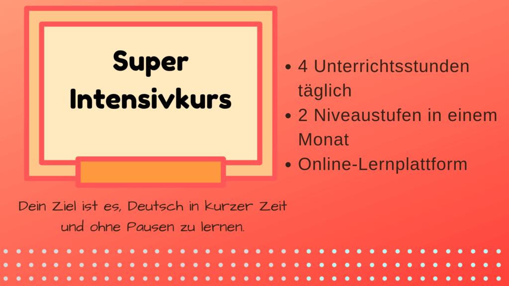 Super-Intensivkurs Deutsch München mundolecu Sprachschule Dauer