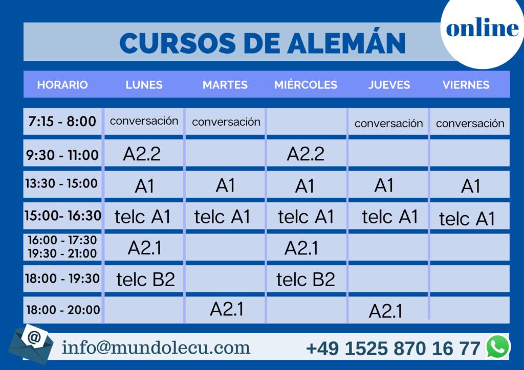 horario cursos en linea